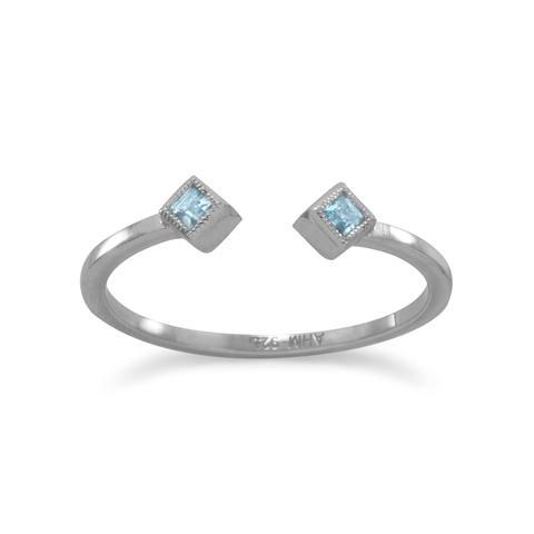 Rhodium Plated Swiss Blue Topaz Open Design Ring
