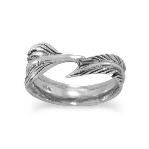 Oxidized Feather Wrap Ring