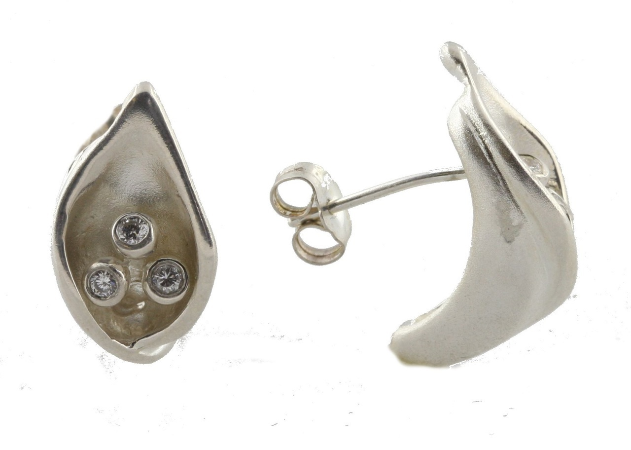 Calla Lily Earrings-Sterling Silver, Diamonds And 18K Gold Plate Options