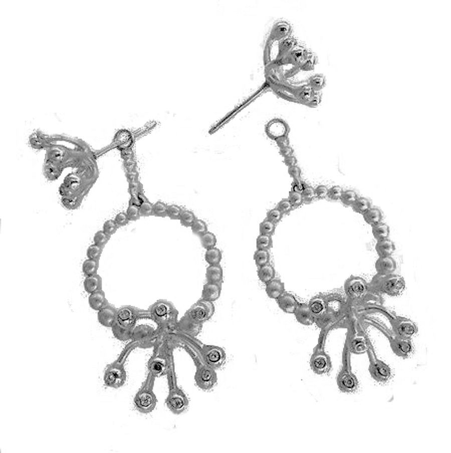 Circle Fireworks Earrings-Sterling Silver & Diamonds With Plate Options