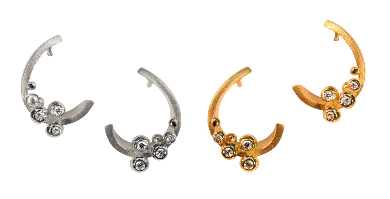 Curly Hoop-Sterling With Diamonds. Rhodium Or Gold Plate