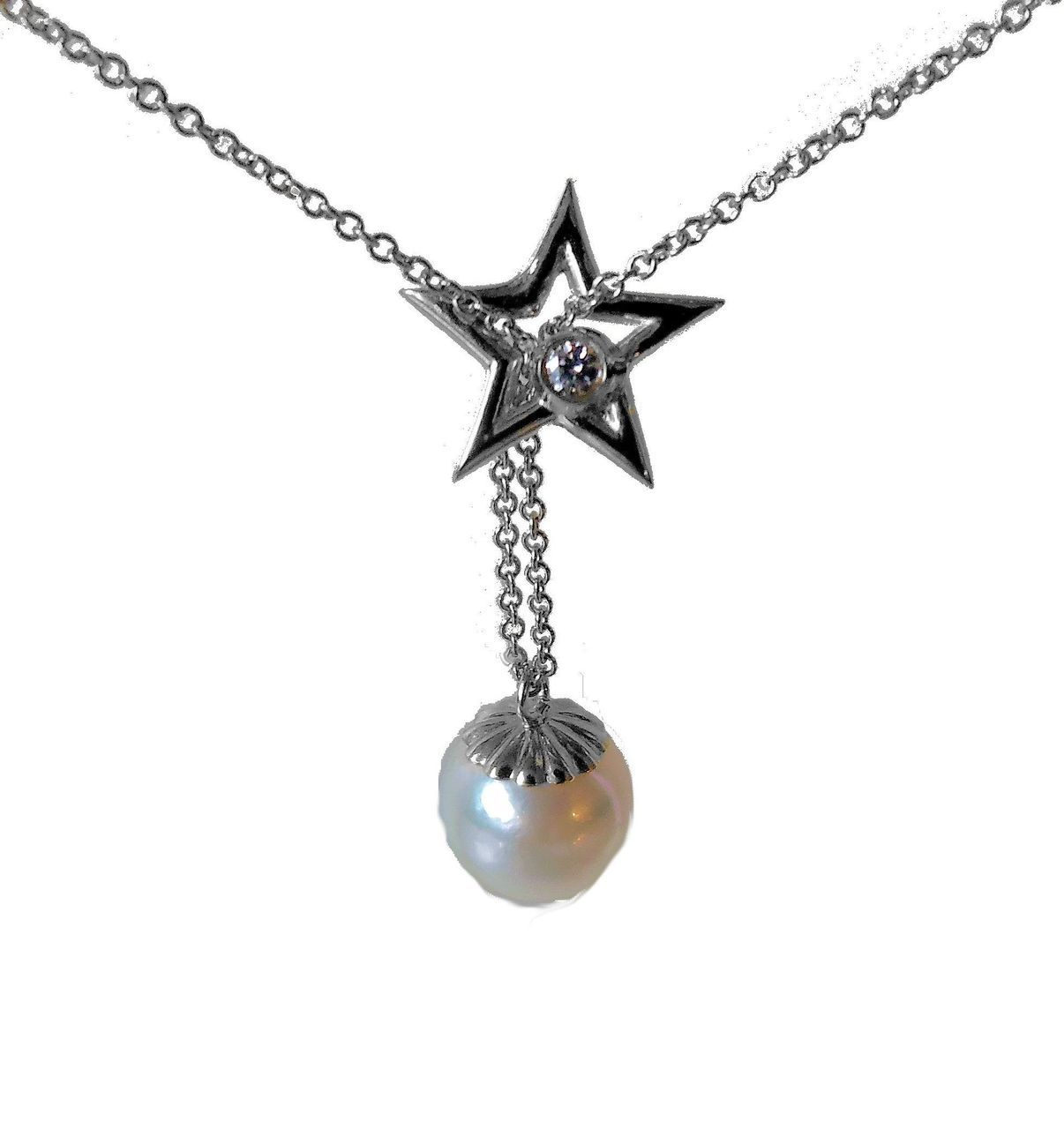 Delicate Star, Diamond & Pearl Necklace In Sterling Silver