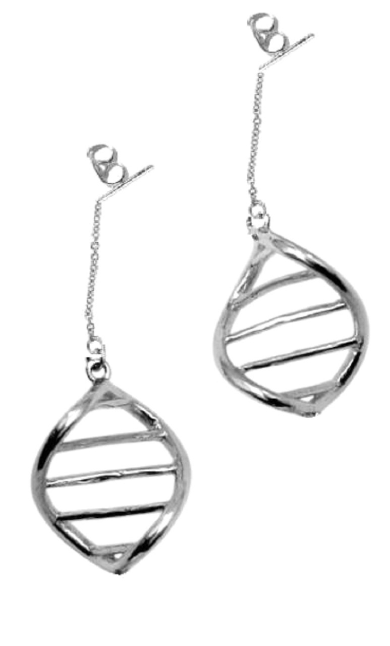 DNA Link Earrings-Sterling With Plate Options