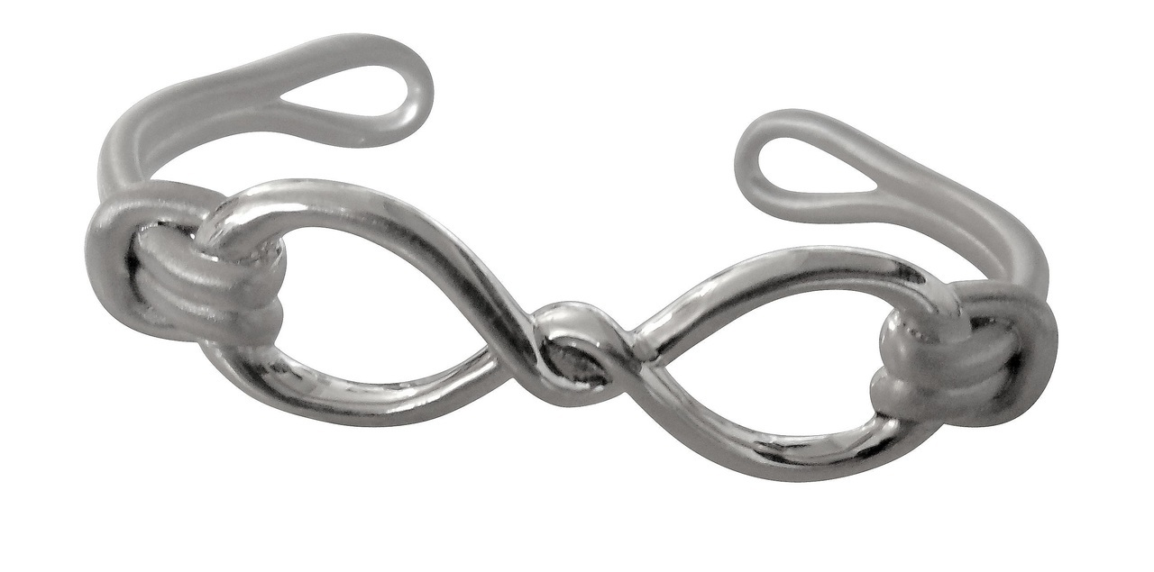 Infinity Knot Cuff Bracelet- Sterling Silver With 18K Gold Or Rhodium Plate