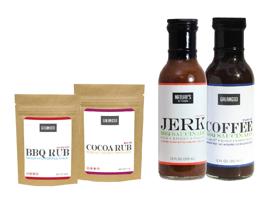 Jerk & Coffee Saucinade (Sauce & Marinade), Cocoa & BBQ Rub