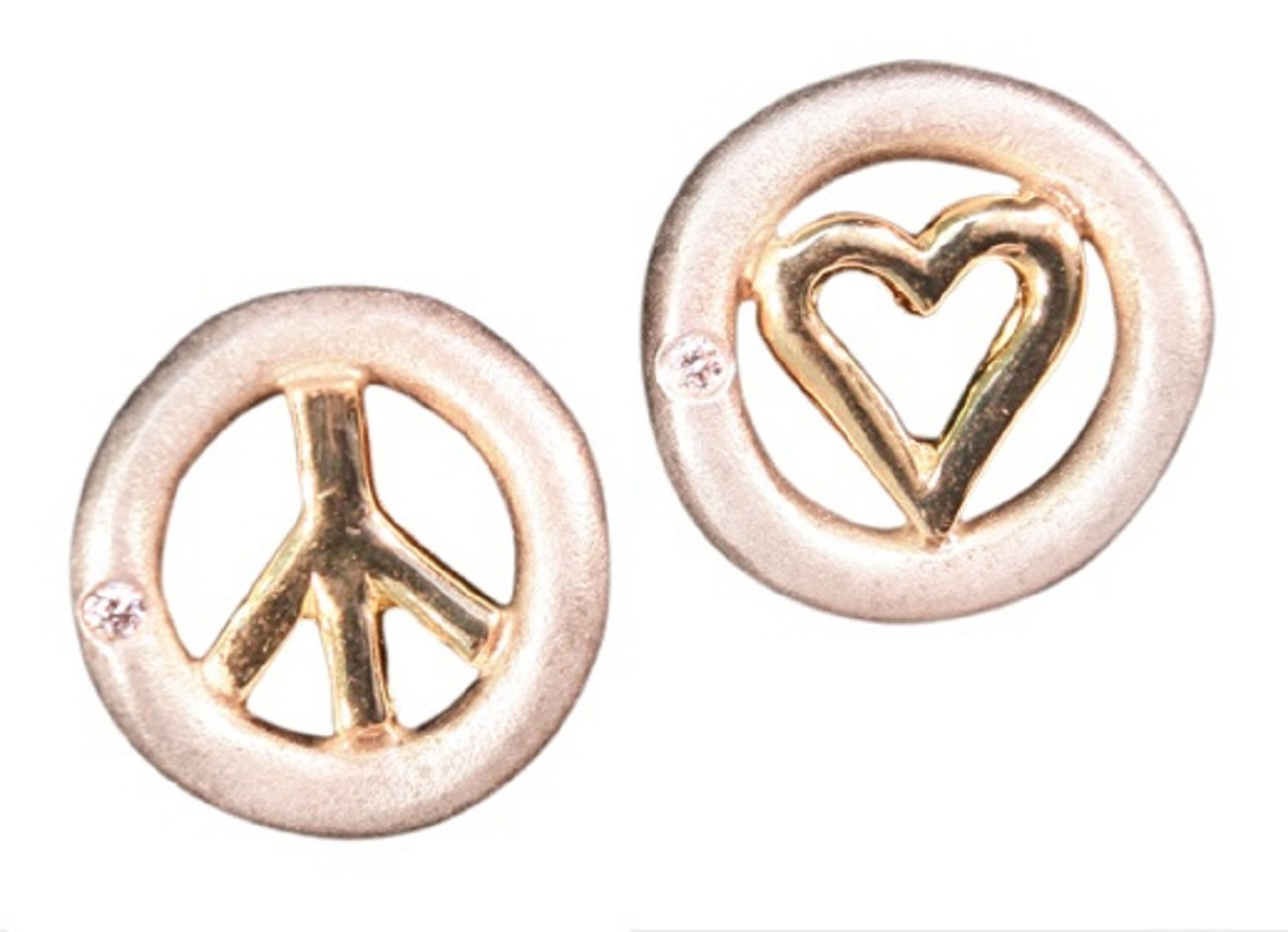 Peace And Love Earrings, Sterling & Solid 18K, With Tiny Diamonds