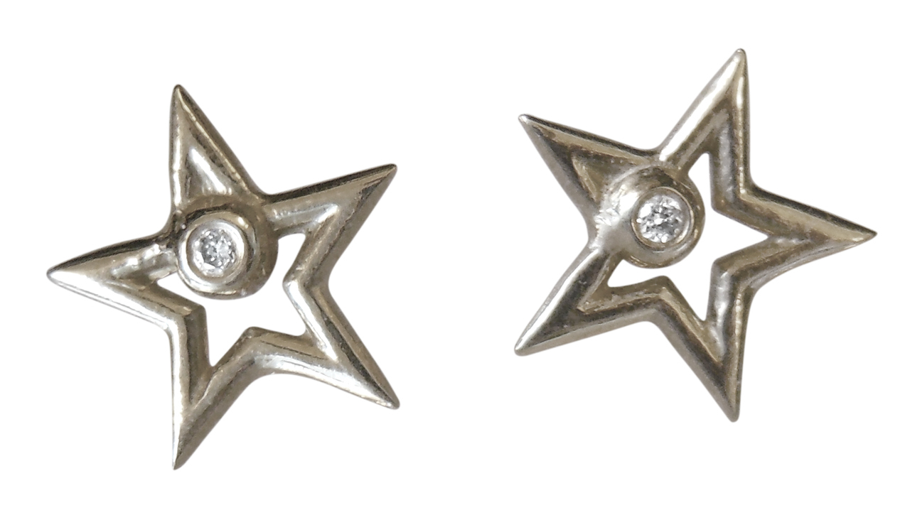 Star Stud Earrings-Open-Sterling With Plate Options