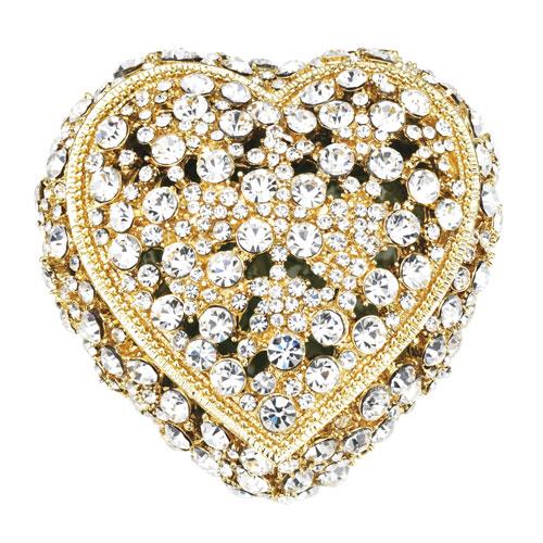 Gold Crystal Heart Box