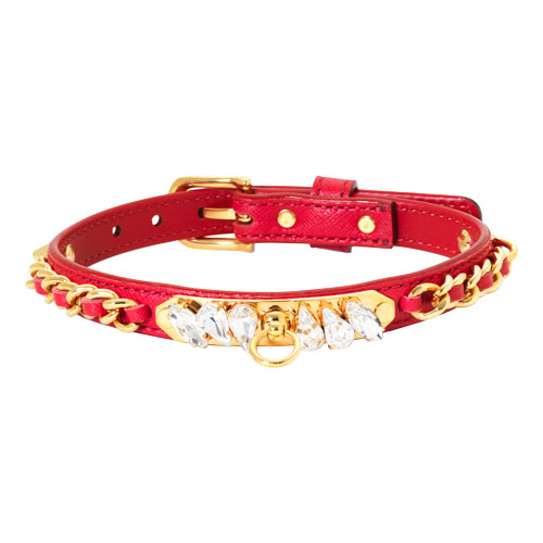 """Red Calfskin """"Princess"""" Dog Collar With Crystals - Md"""