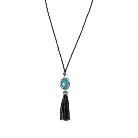 Black Crystal Fashion Necklace with Pear and Tassel Drop