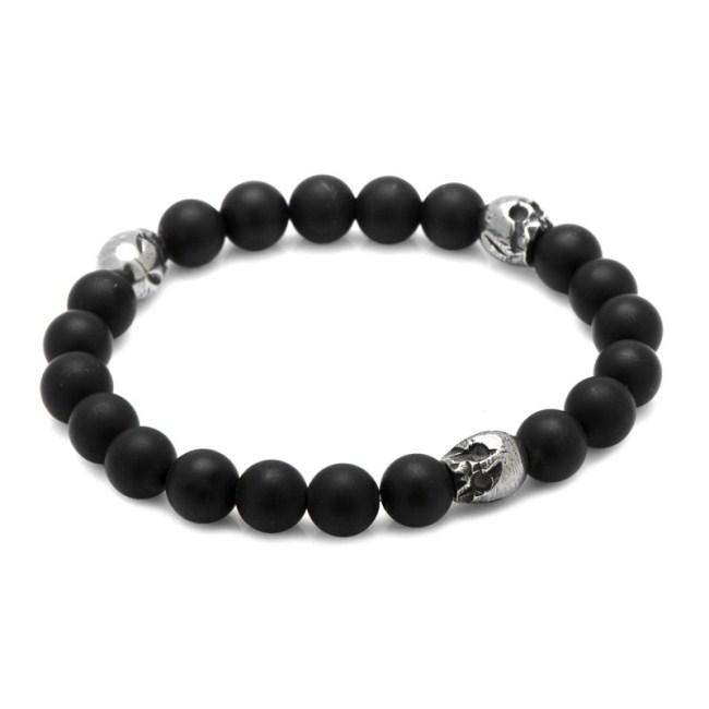Thomas Onyx Stretch Bracelet in Pewter