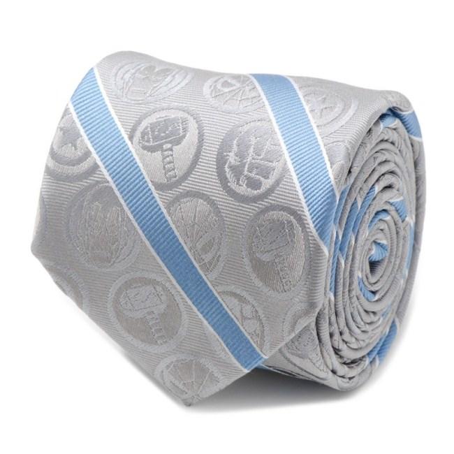 Marvel Comics Grey and Blue Stripe Men's Tie