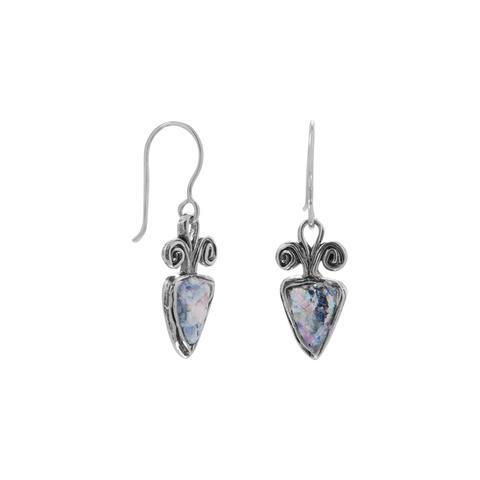 Oxidized Roman Glass Arrowhead Earrings