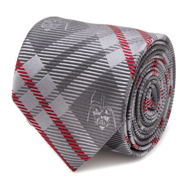 Darth Vader Grey and Red Plaid Men's Tie