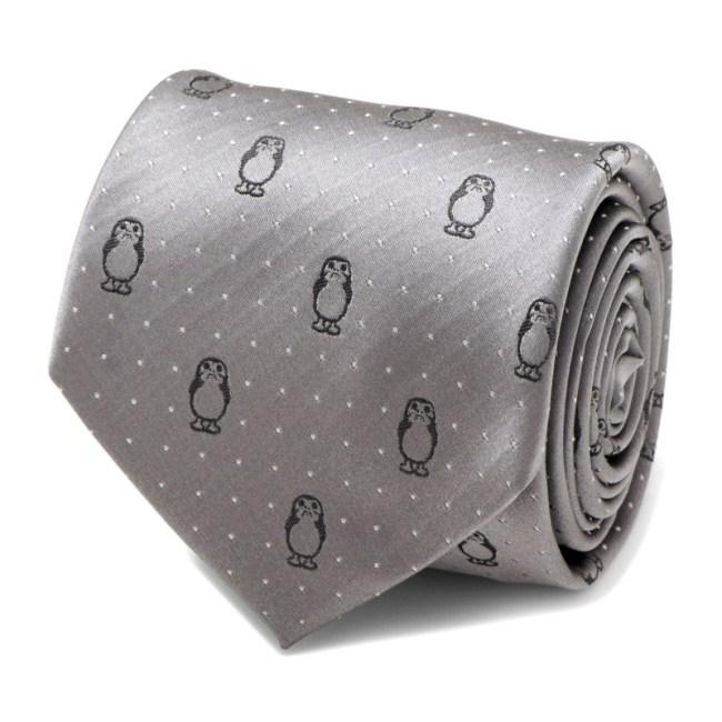 Porg Dot Gray Men's Tie