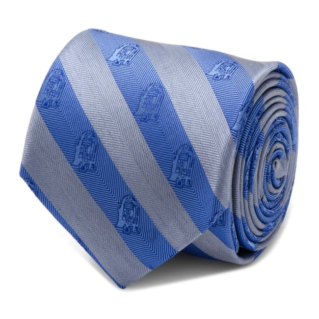 R2D2 Blue and Grey Stripe Men's Tie