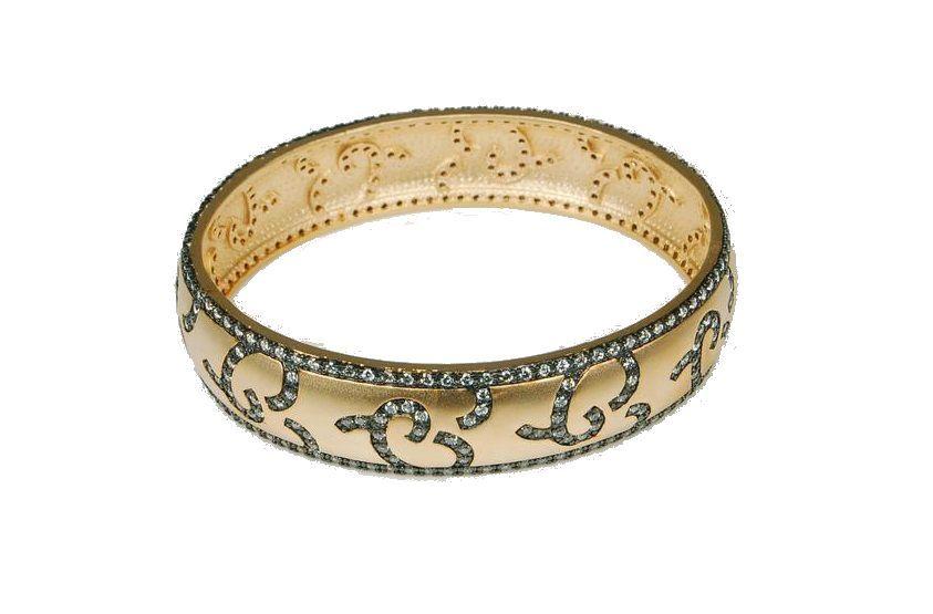 Bologna Black, Gold & Sparkle Oval Bangle Bracelet