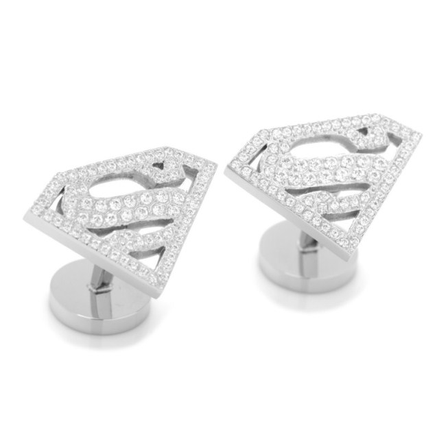 Stainless Steel White Pave Crystal Superman Cufflinks