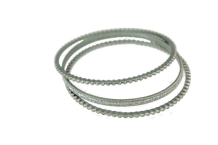 Firenze-Set of 3 round bangle bracelets- Sterling Silver & CZ