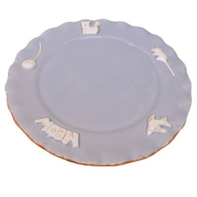 Cat Plate- French Grey