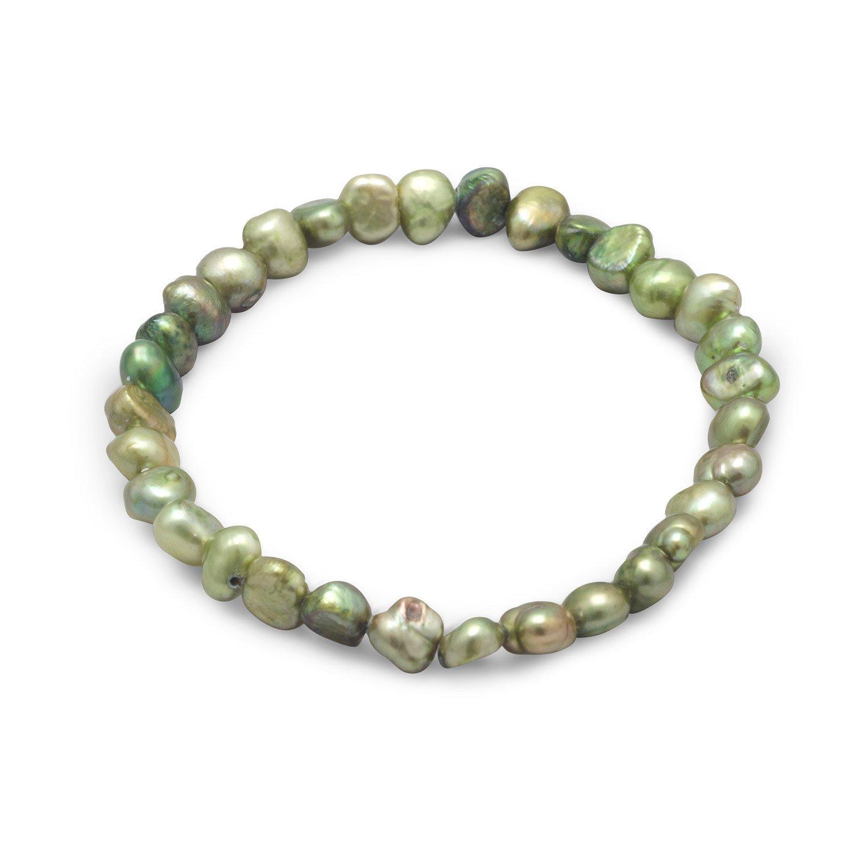 Green Cultured Freshwater Pearl Bracelet