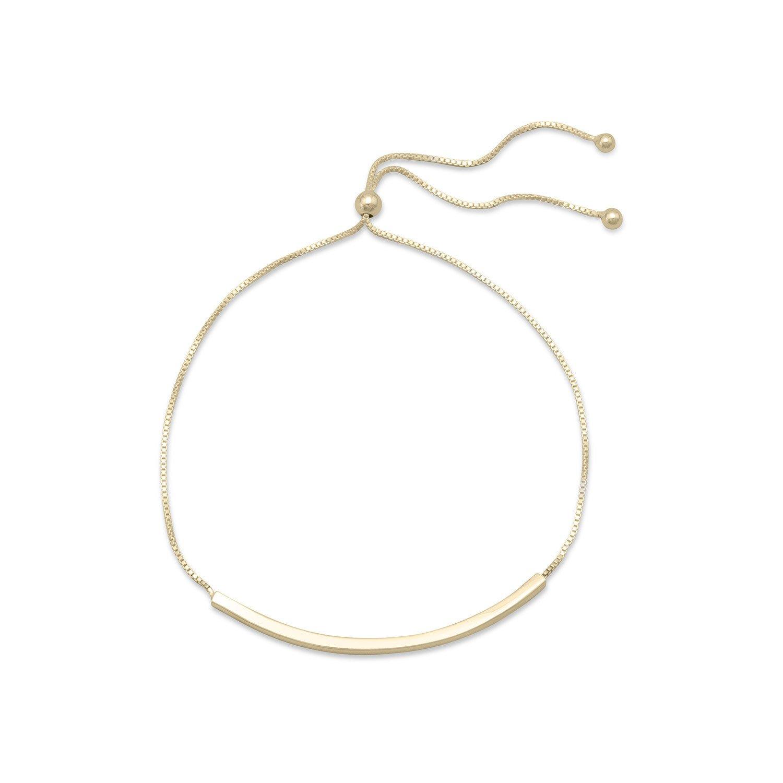 14 Karat Gold Plated Bar Friendship Bolo Bracelet