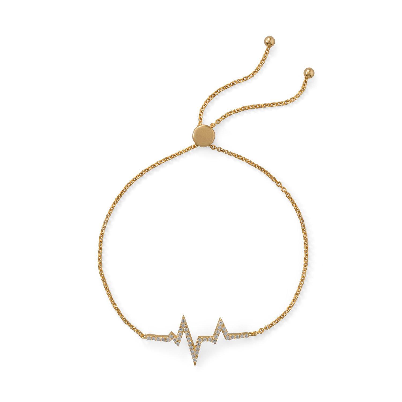 14 Karat Gold Plated CZ Heartbeat Friendship Bolo Bracelet