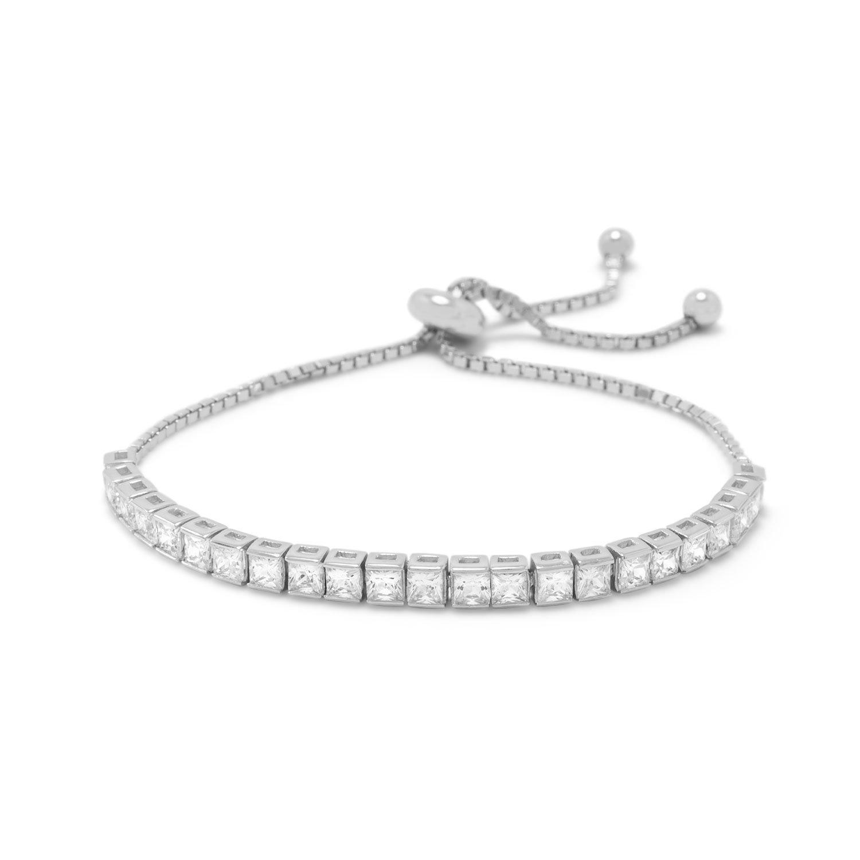 Rhodium Plated Square CZ Friendship Bolo Bracelet