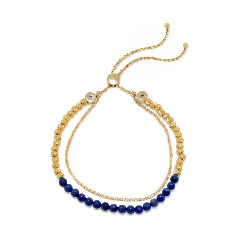 18 Karat Gold Plated Double Strand Lapis Bolo Bracelet