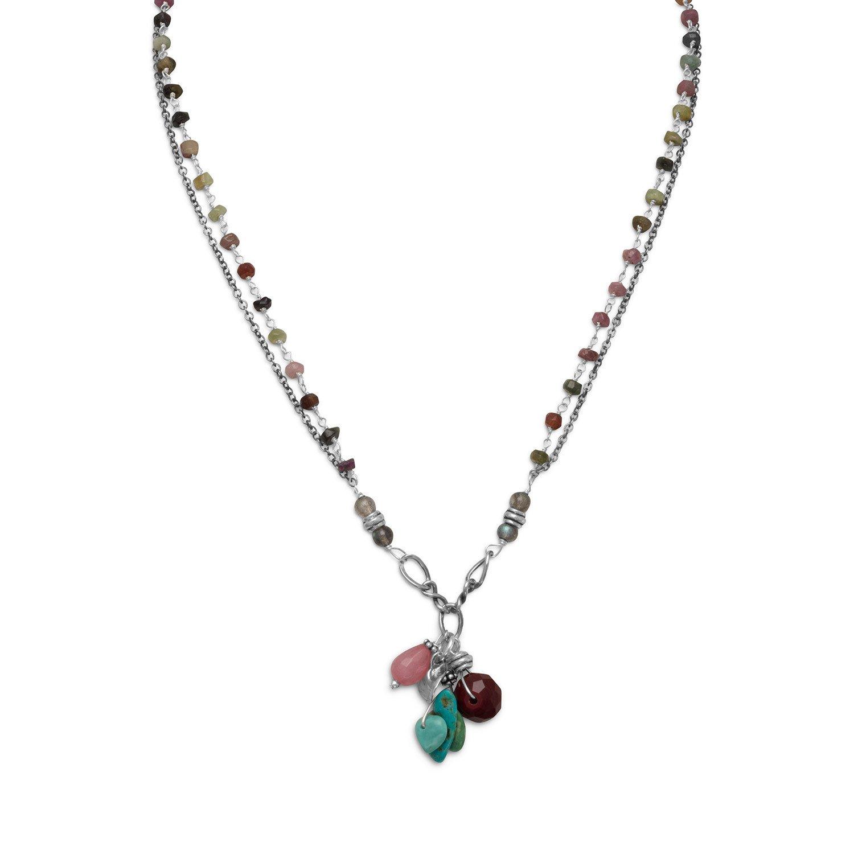 Baila Luna Oxidized Multistone Drop Necklace