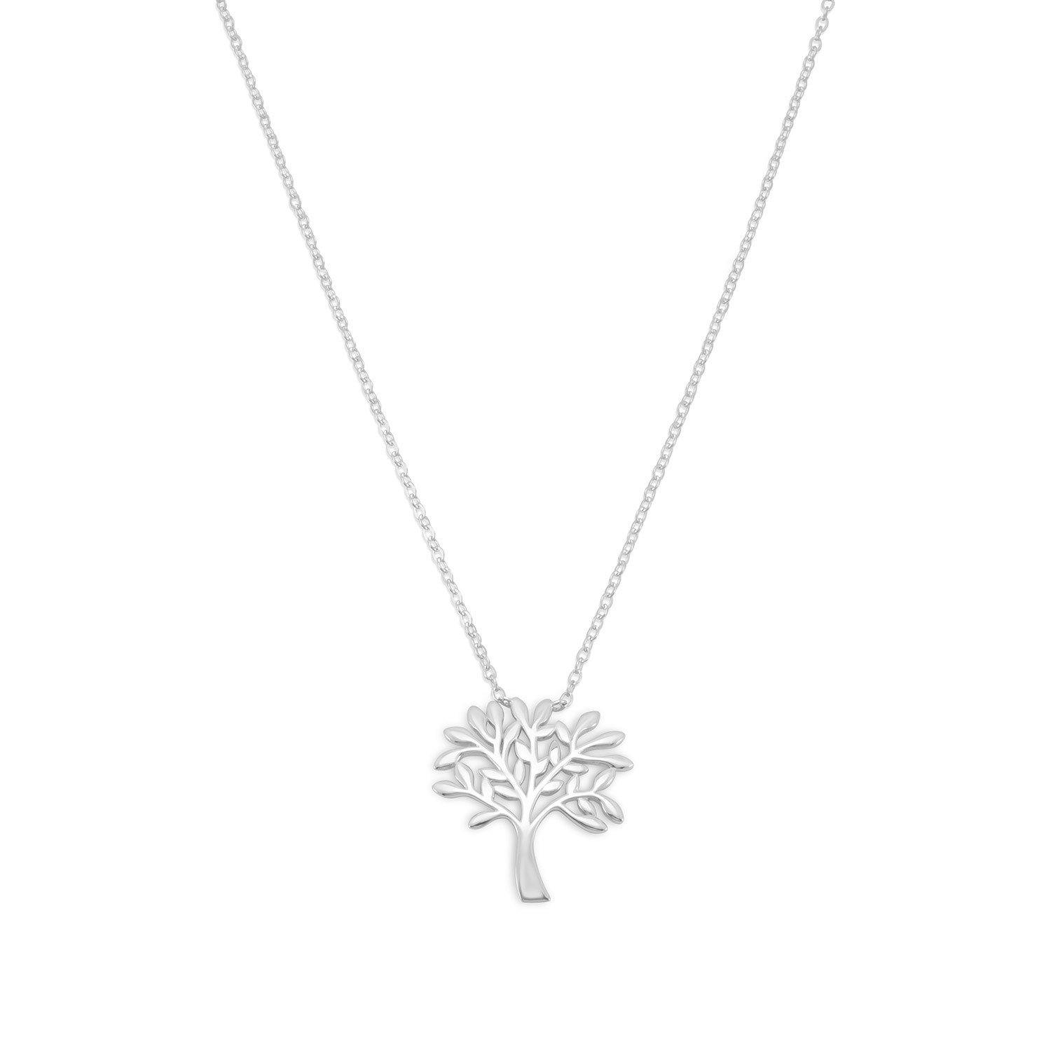 Rhodium Plated Tree Necklace