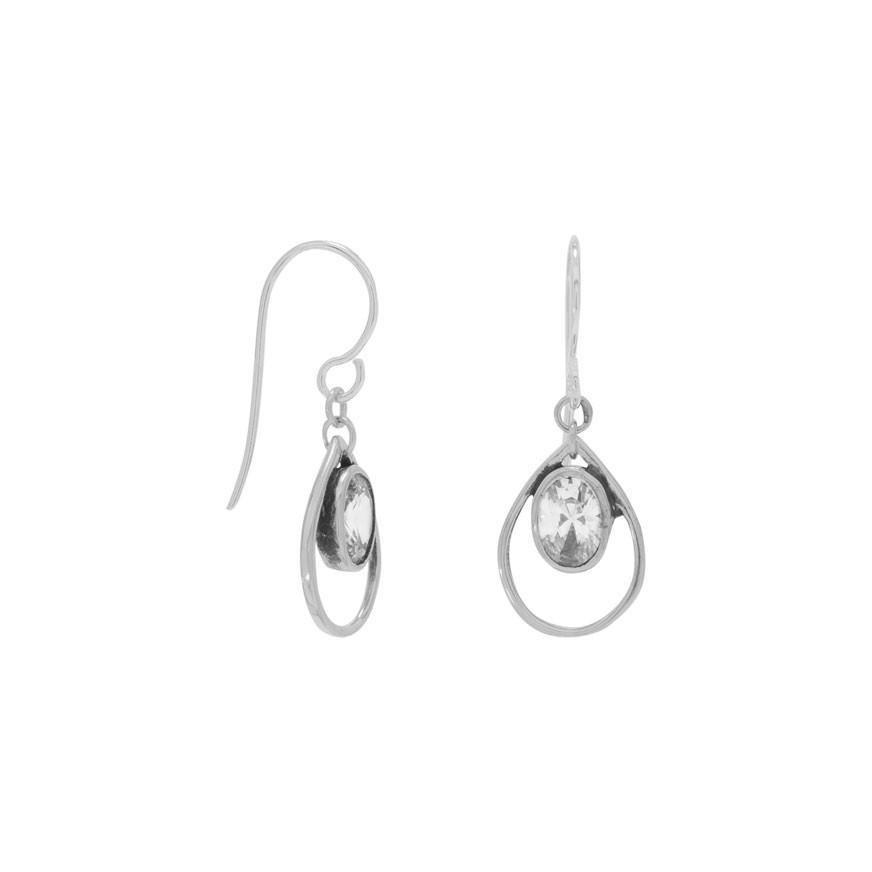 Oxidized Oval CZ Earrings