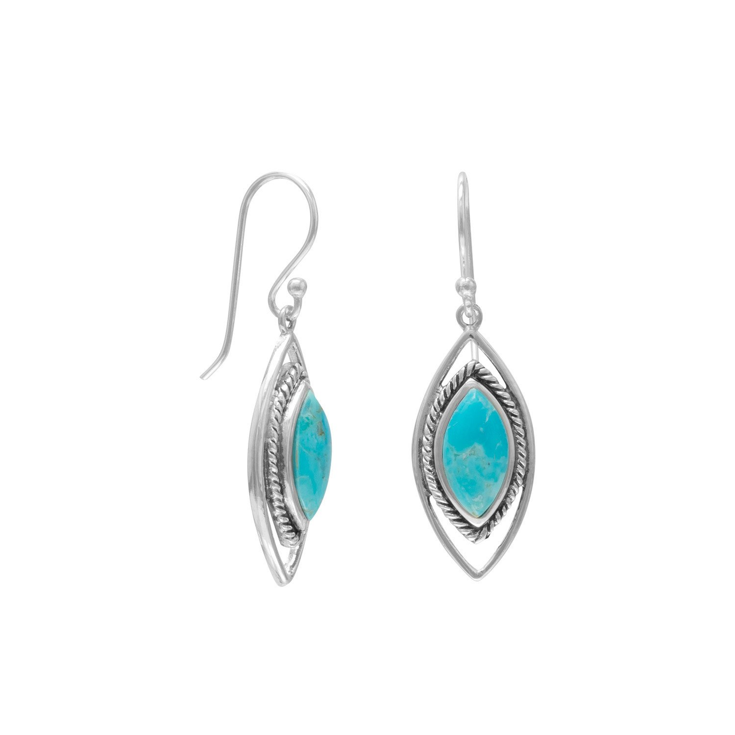 Oxidized Marquise Reconstituted Turquoise Earrings