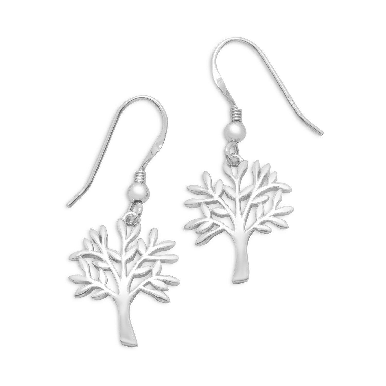 Rhodium Plated Tree Earrings