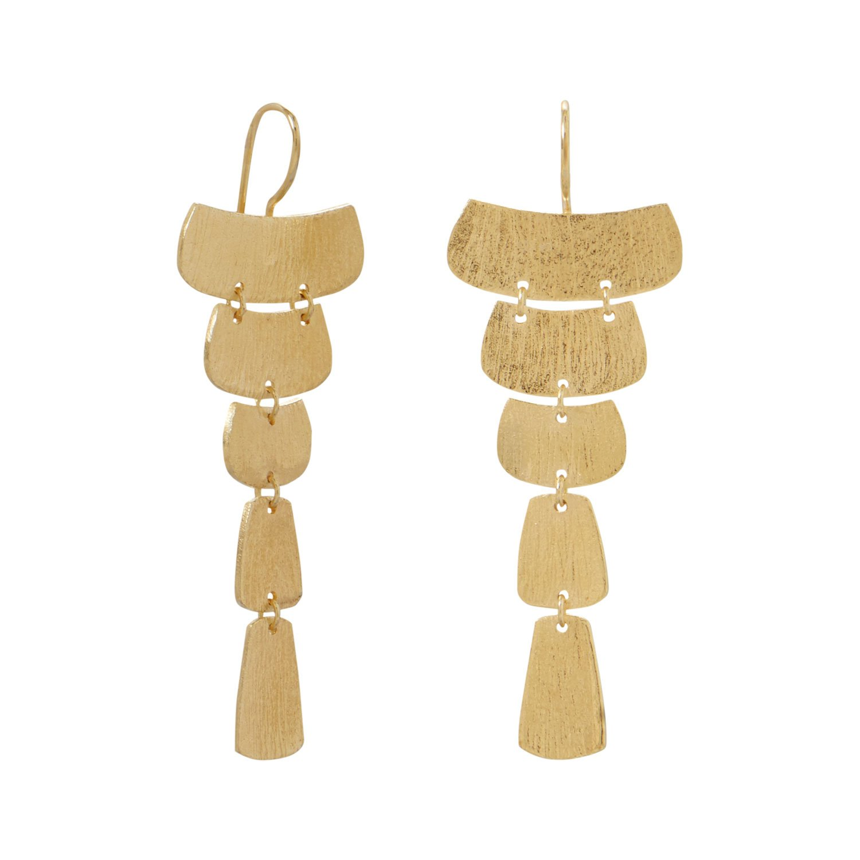 14 Karat Gold Plated Textured Cascading Plate Earrings