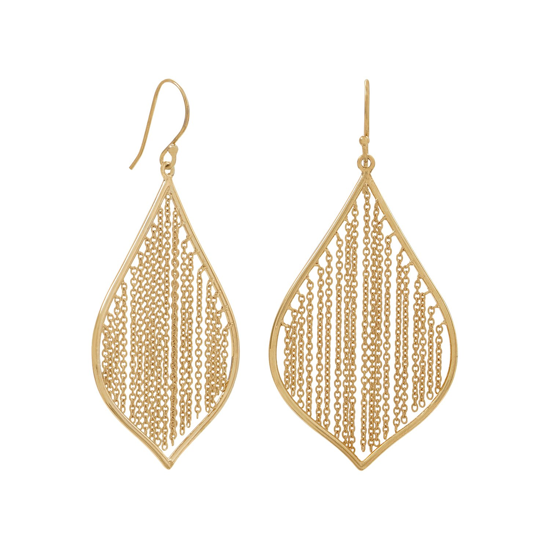 14 Karat Gold Plated Fringe Leaf Earrings