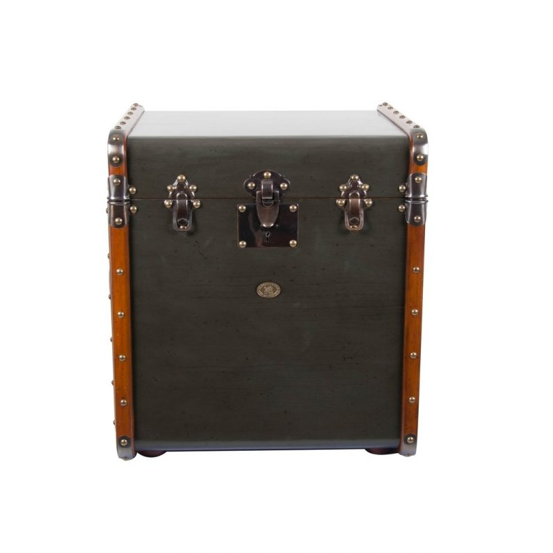 Stateroom Trunk End Table, Grey