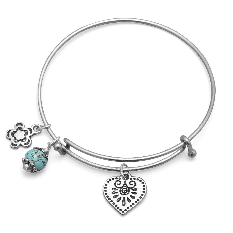 Expandable Heart Charm Fashion Bangle Bracelet