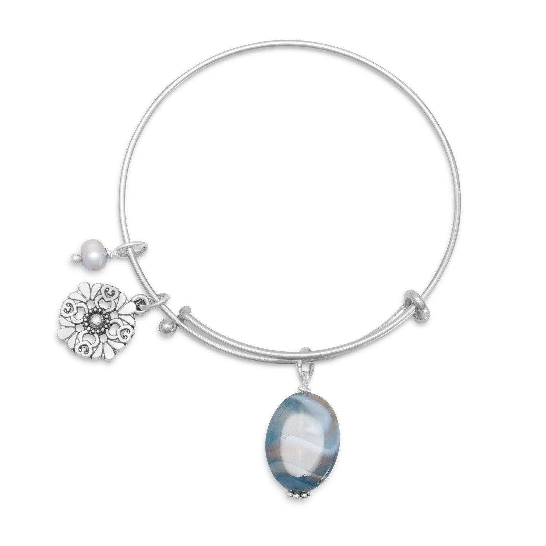 Expandable Blue Agate Fashion Bangle Bracelet