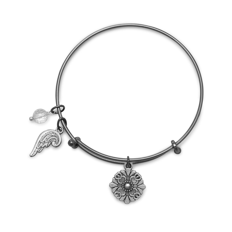 Black Tone Expandable Angel Wing Charm Fashion Bangle Bracelet