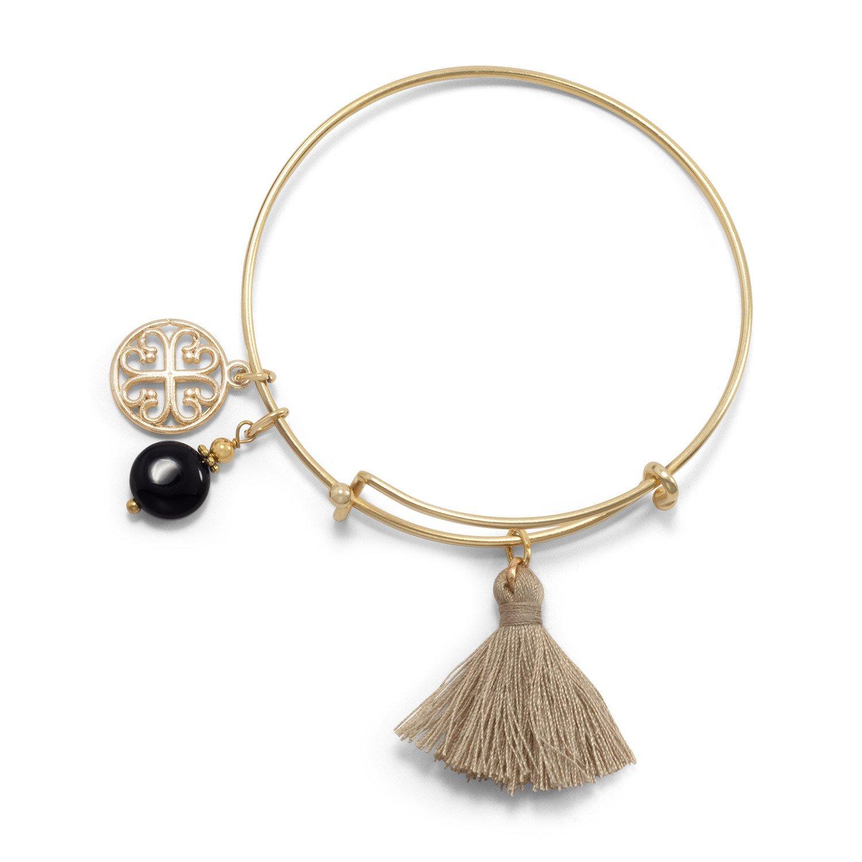 Gold Tone Expandable Tan Tassel and Black Onyx Charm Fashion Bangle Bracelet