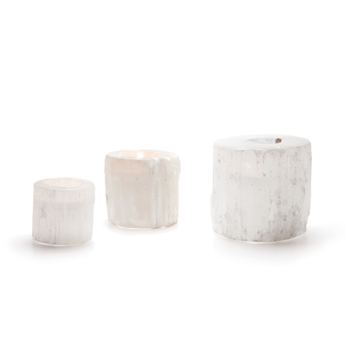 Set of Three Round Rock Crystal Votives
