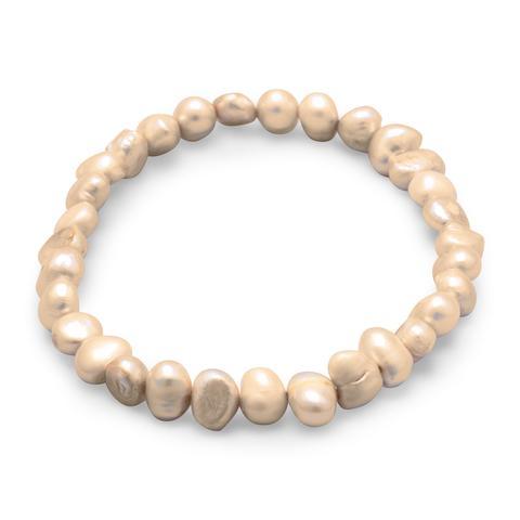 Tan Cultured Freshwater Pearl Stretch Bracelet