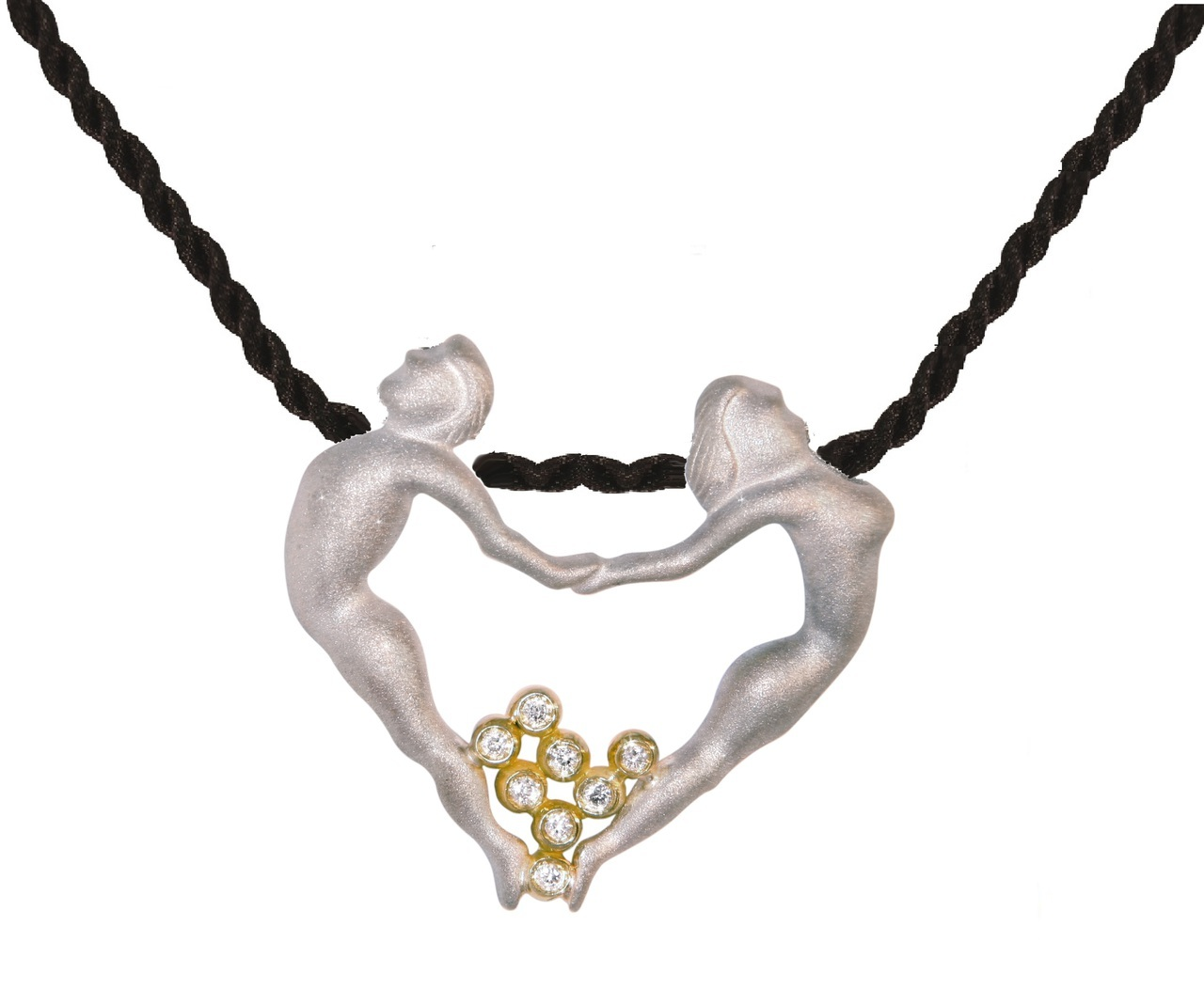 Couple Heart Necklace - 18K with diamond dots in sterling silver heart