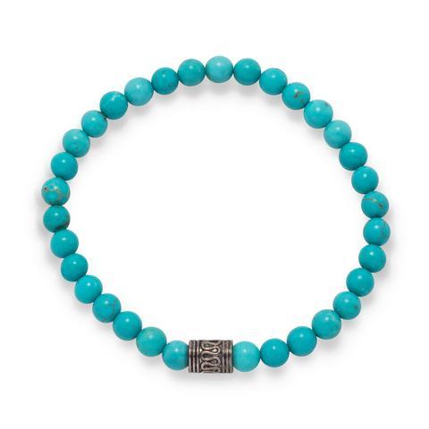 Blue Magnesite Fashion Stretch Bracelet