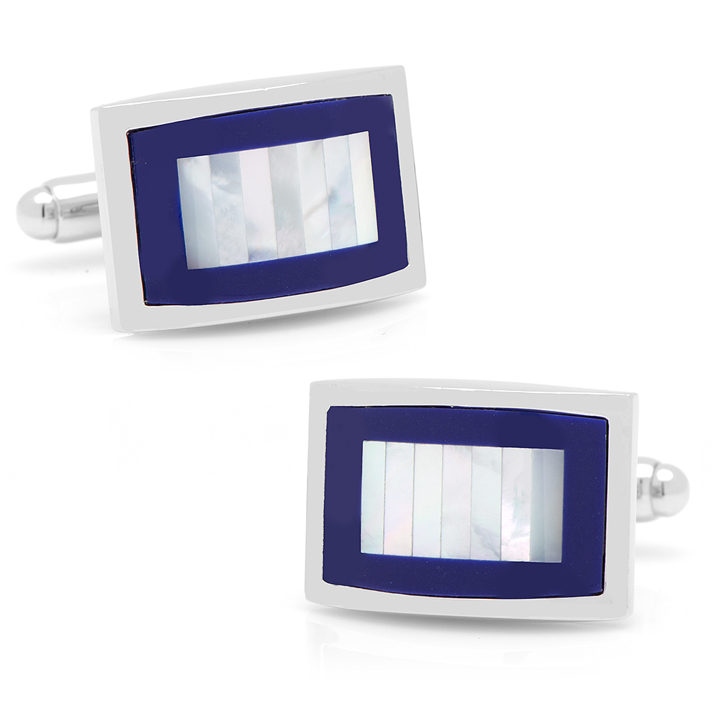 Mother of Pearl and Lapis Blue Key Cufflinks