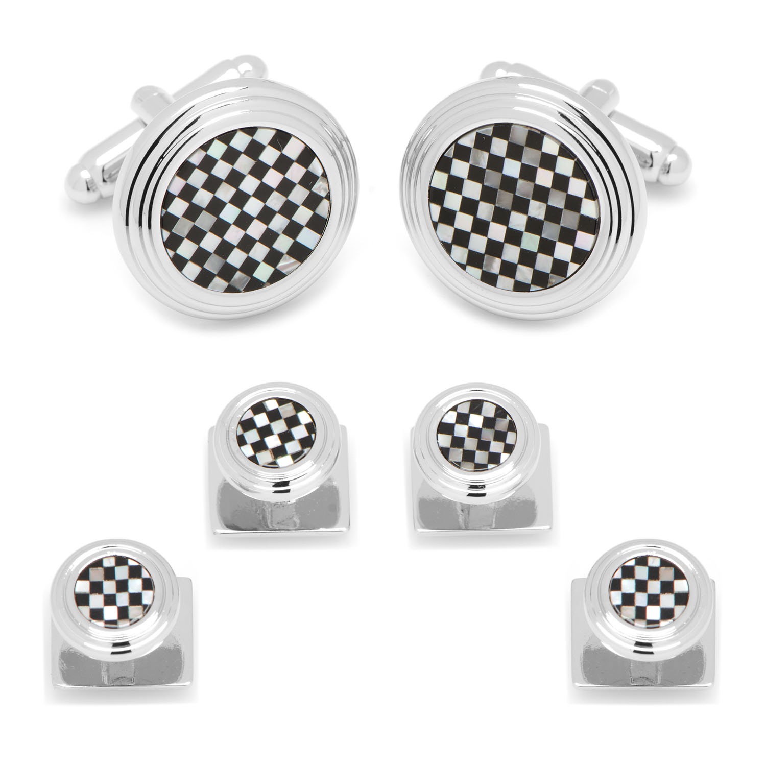 Onyx and Mother of Pearl Checker Stud Set