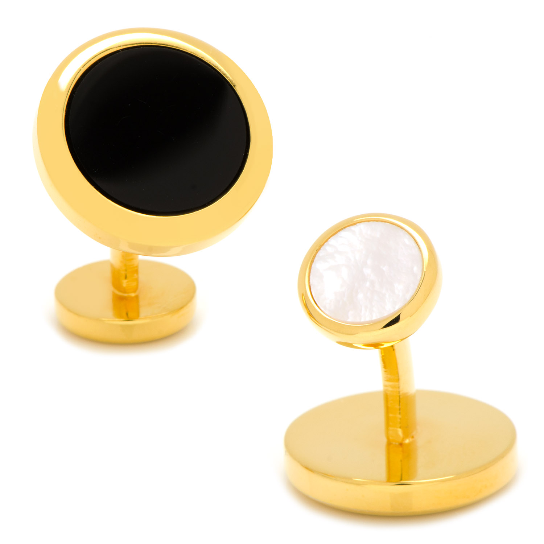 Double Sided Gold Onyx Round Beveled Cufflinks