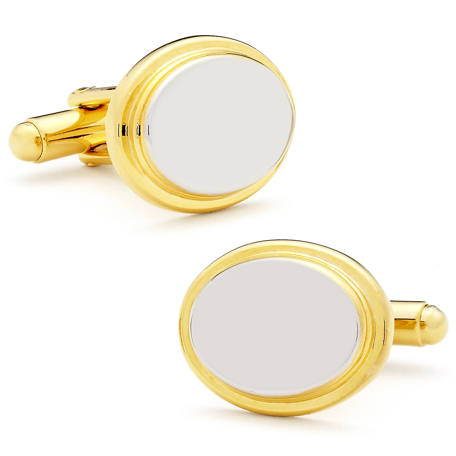 Two Tone Stainless Steel Oval Step Engravable Cufflinks