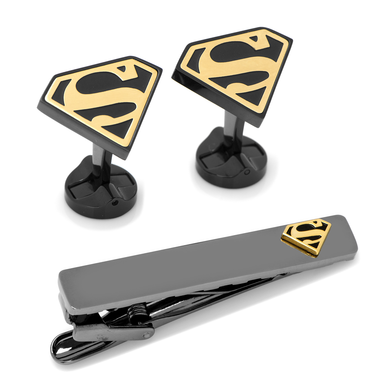 Superman Black and Gold Cufflinks and Tie Clip Gift Set